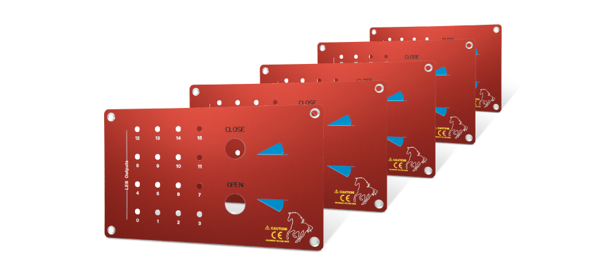 Five identical front panels, red anodized